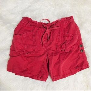 Free people Faded Red Linen Roll Up Shorts